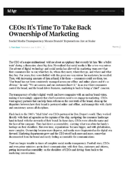 J. Walter Thompson + CEOs: It's Time To Take Back Ownership of Marketing - J. Walter Thompson Singapore